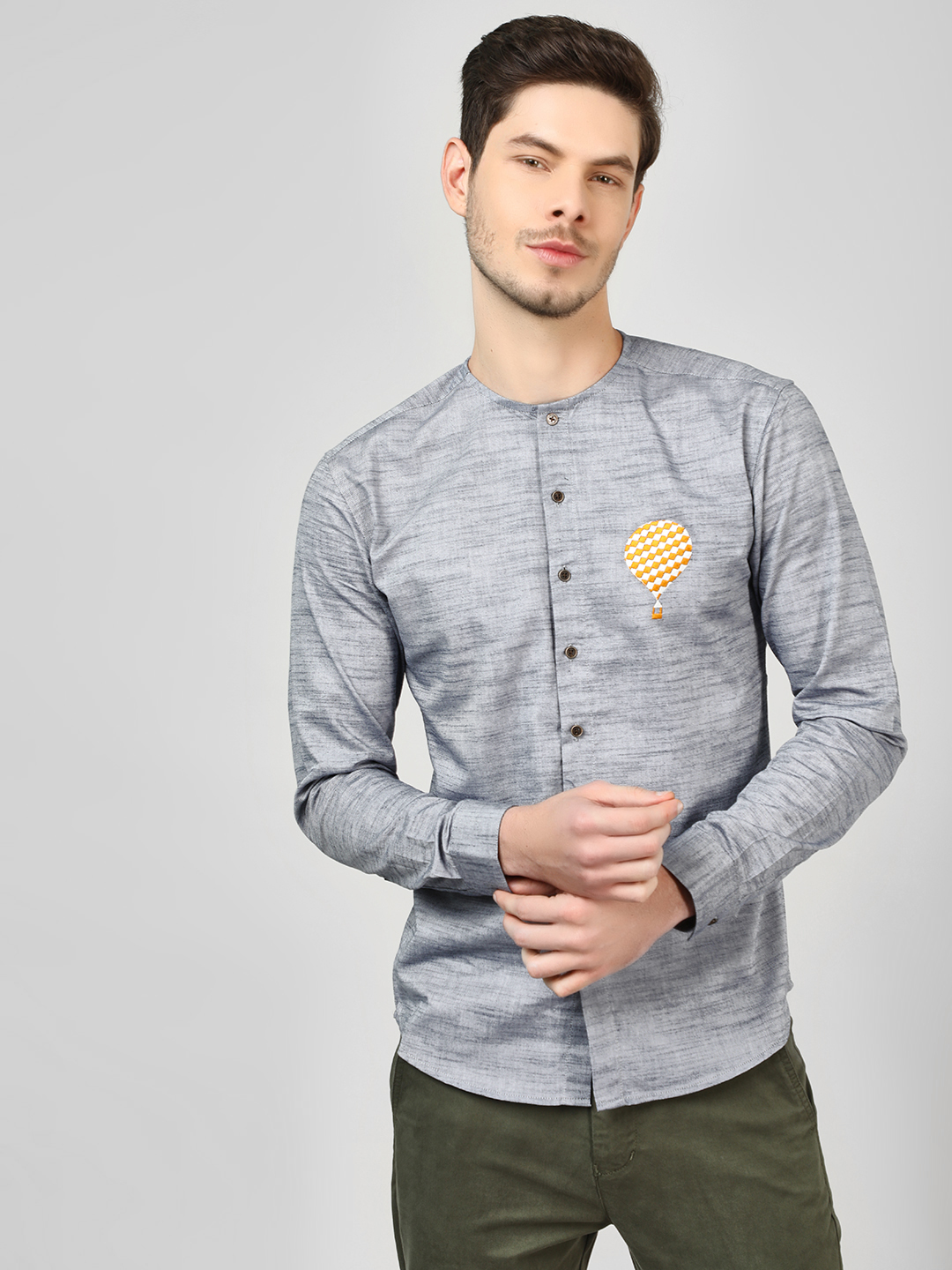 Bolt Of The Good Stuff Grey Grandad Collar Shirt With Embroidery 1