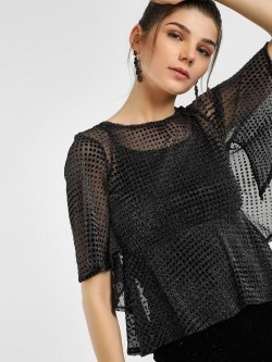 UMM Self Design Metallic Peplum Blouse