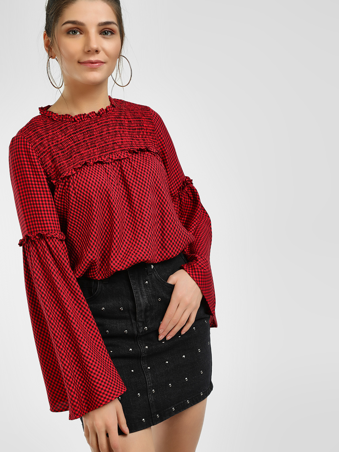 UMM Red Micro Check Flared Sleeve Blouse 1