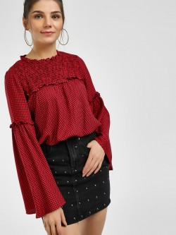 UMM Micro Check Flared Sleeve Blouse