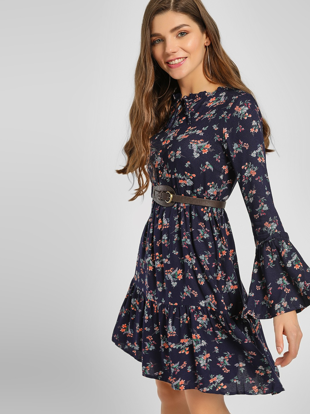 Lee Cooper Navy Blue Floral Print Tiered Shift Dress 1