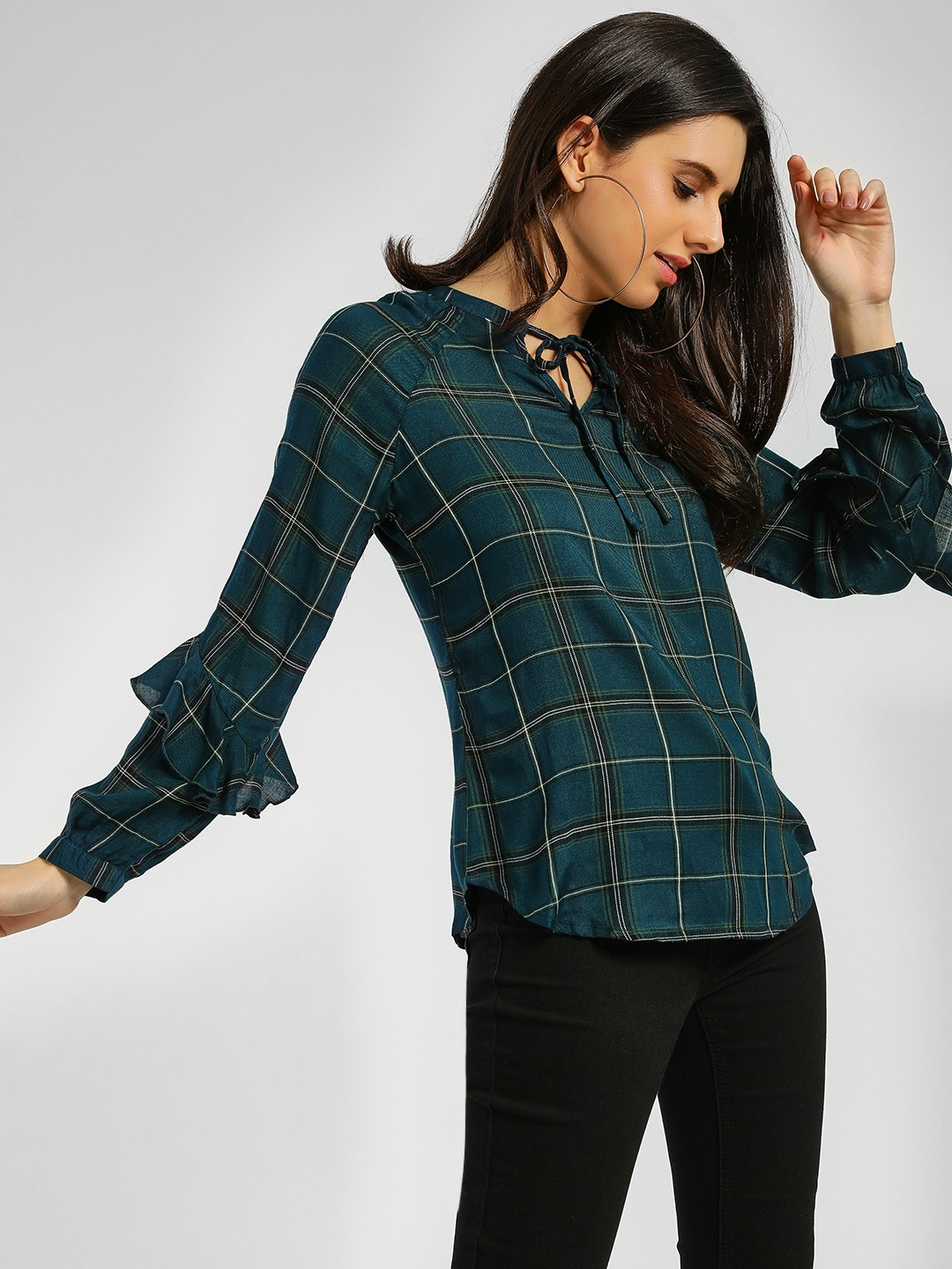Lee Cooper Teal Tie Knot Checkered Top 1