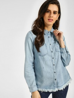 Lee Cooper Splatter Paint Denim Shirt