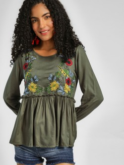 Lee Cooper Floral Embroidered Peplum Top
