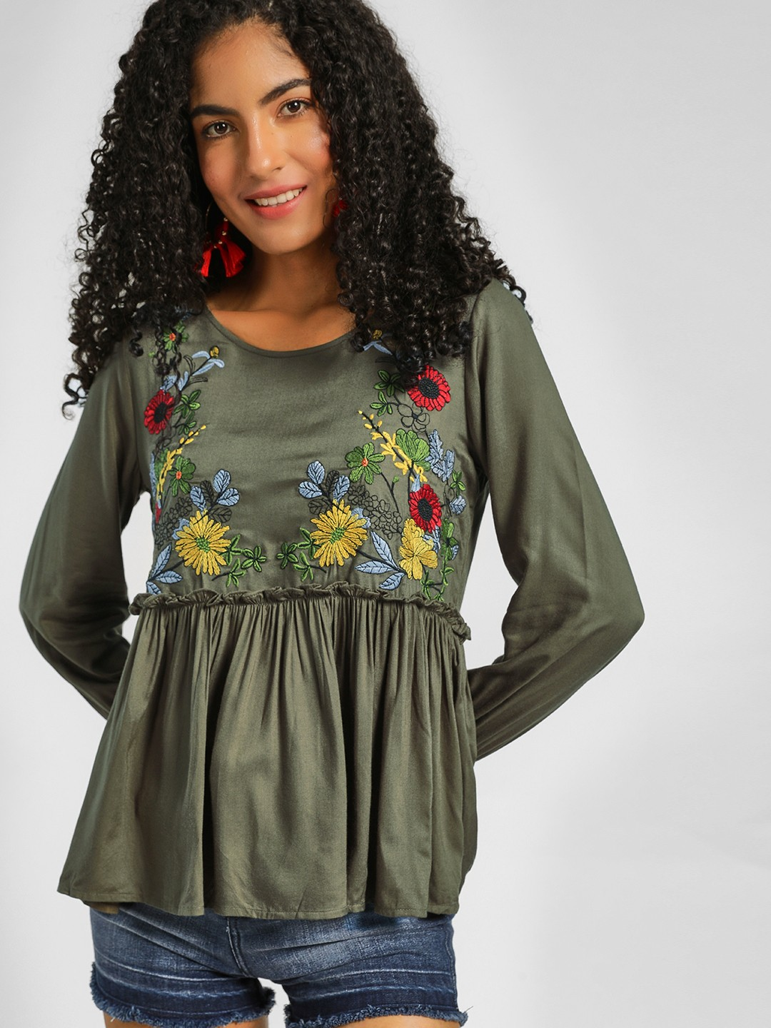 Lee Cooper Olive Floral Embroidered Peplum Top 1