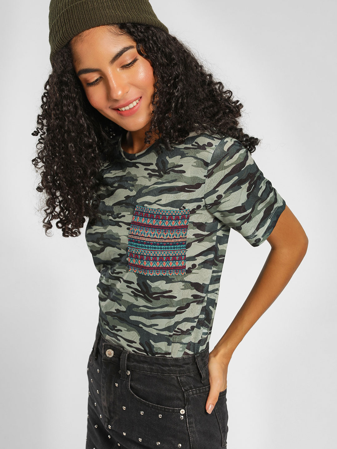 Lee Cooper Olive Tribal Pattern Patch Camo T-Shirt 1