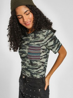 Lee Cooper Tribal Pattern Patch Camo T-Shirt