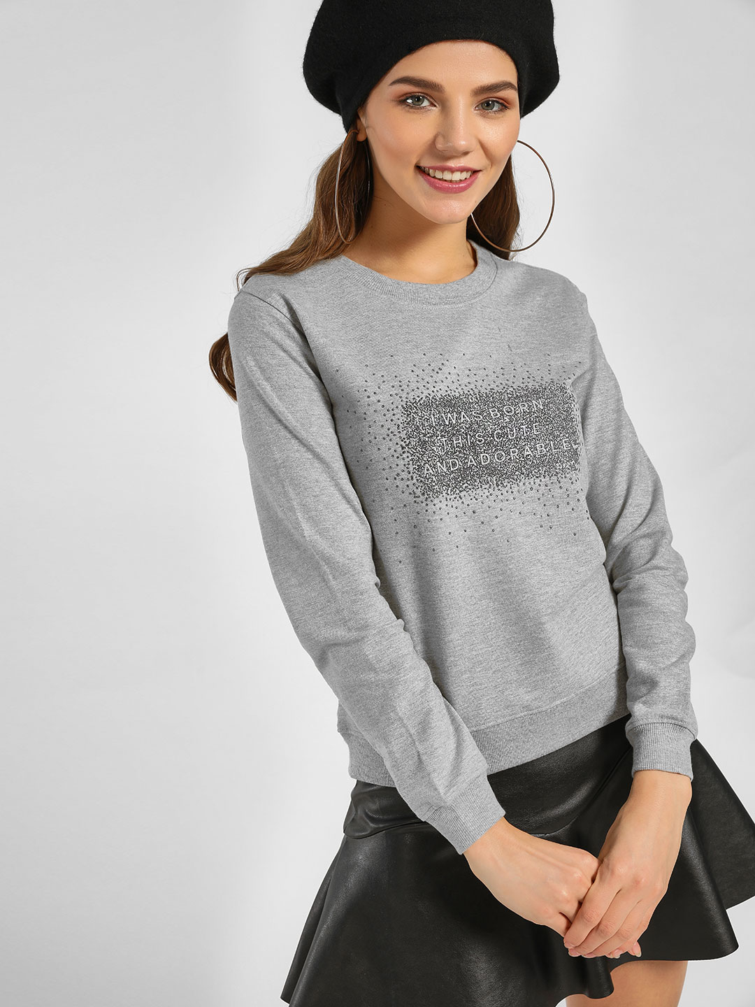 Lee Cooper Grey Shimmer Slogan Print Sweatshirt 1