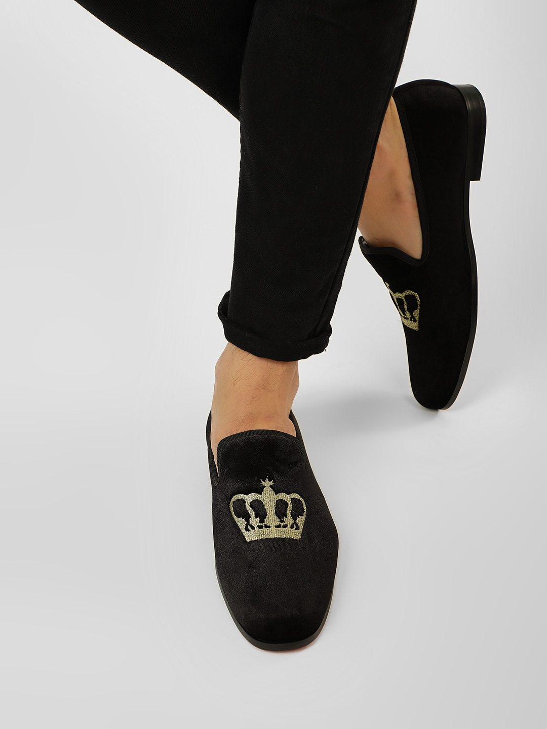 Griffin Black Embroidered Crown Velvet Loafers 1