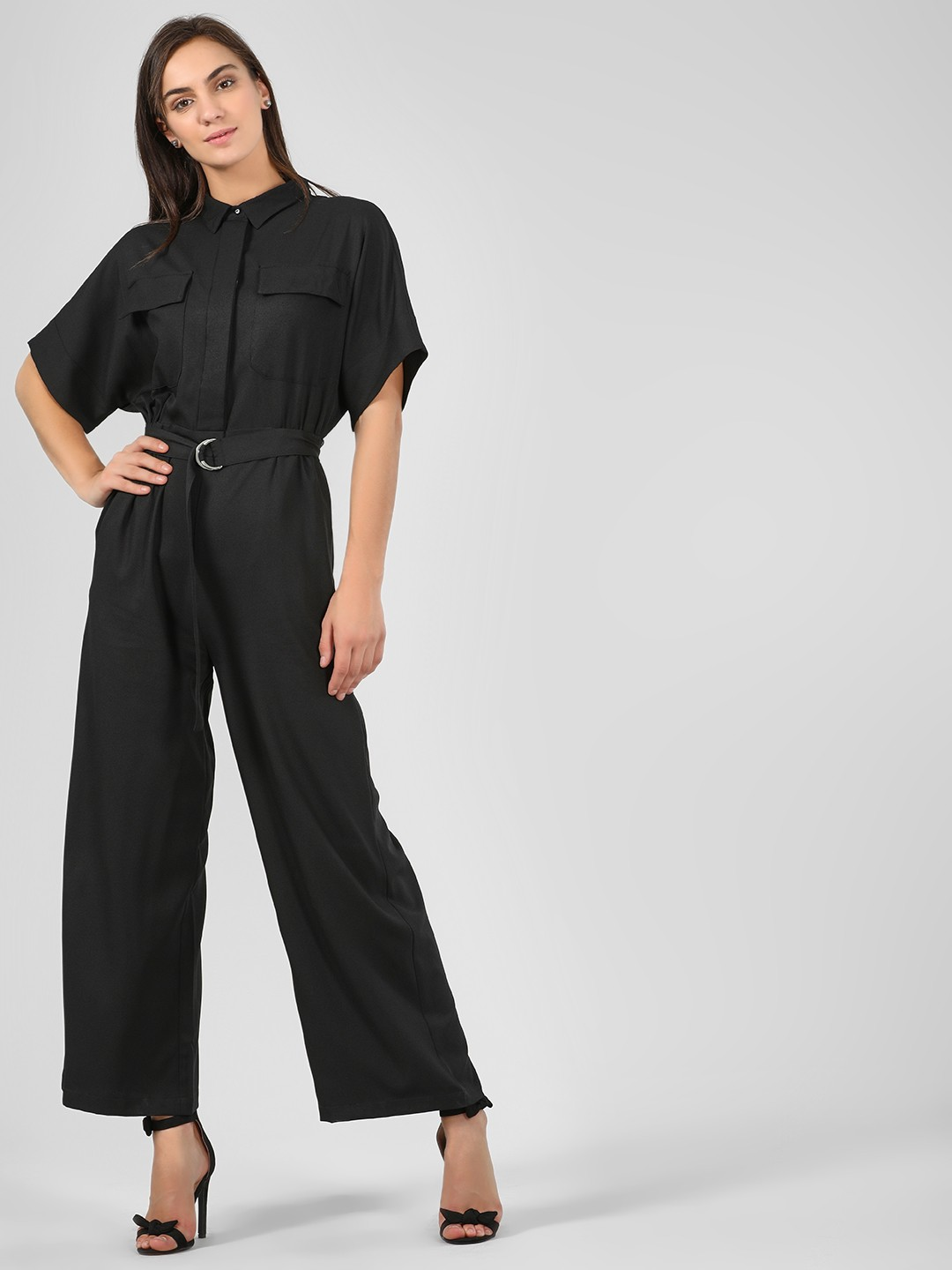 KOOVS Black Jumpsuit With Buckle Belt 1