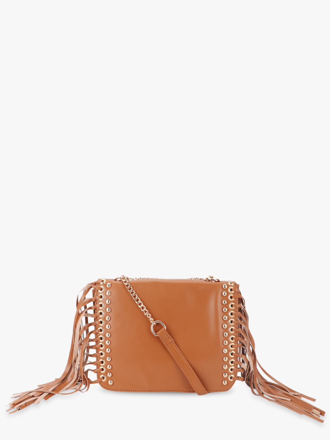 Paris Belle Brown Slingbag With Stud And Fringe Details 1