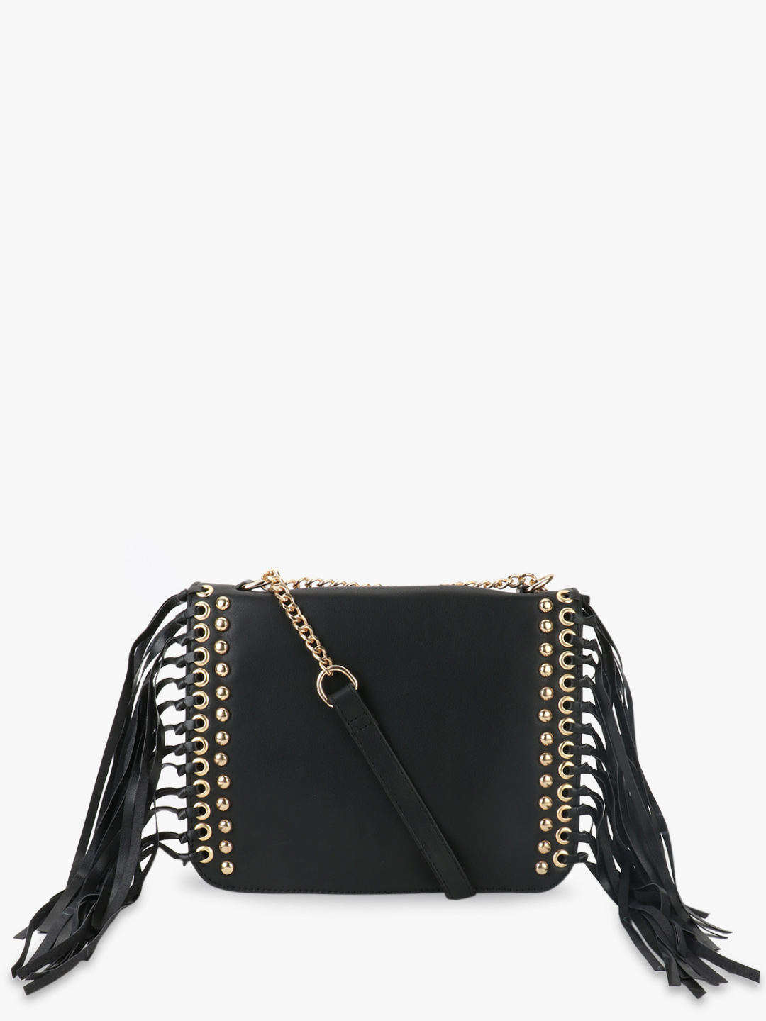 Paris Belle Black Slingbag With Stud And Fringe Details 1