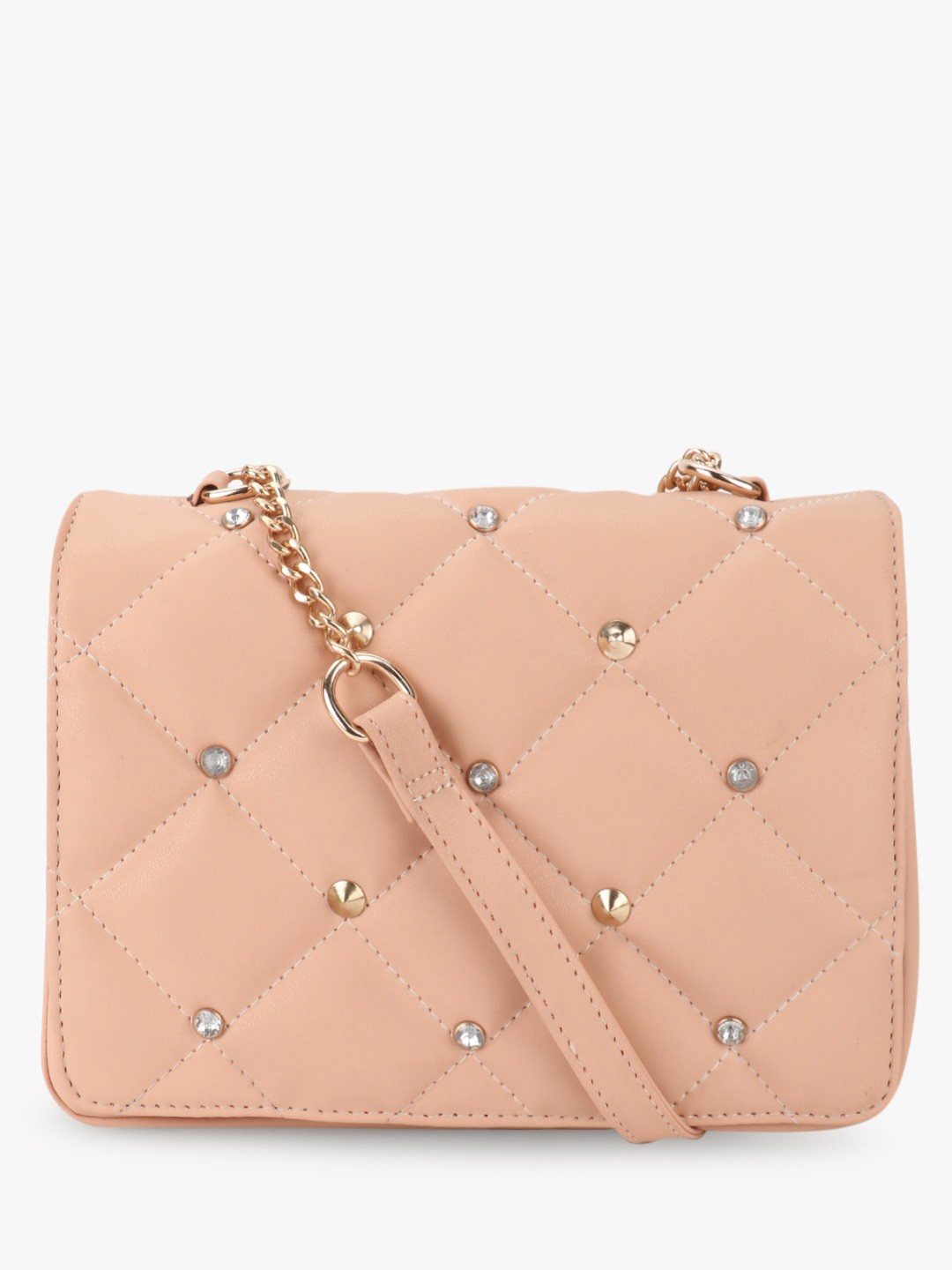 Paris Belle Nude Slingbag With Cushion Detail And Studs 1