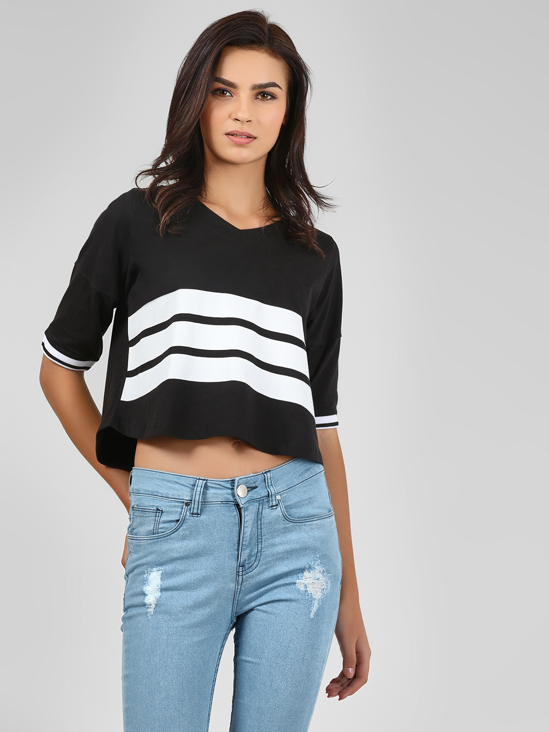 Cult Fiction Black Contrast 3-Striped Crop T-Shirt 1