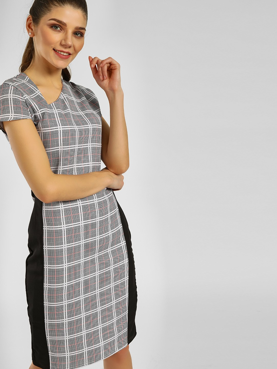 KOOVS Multi Contrast Tape Checkered Shift Dress 1