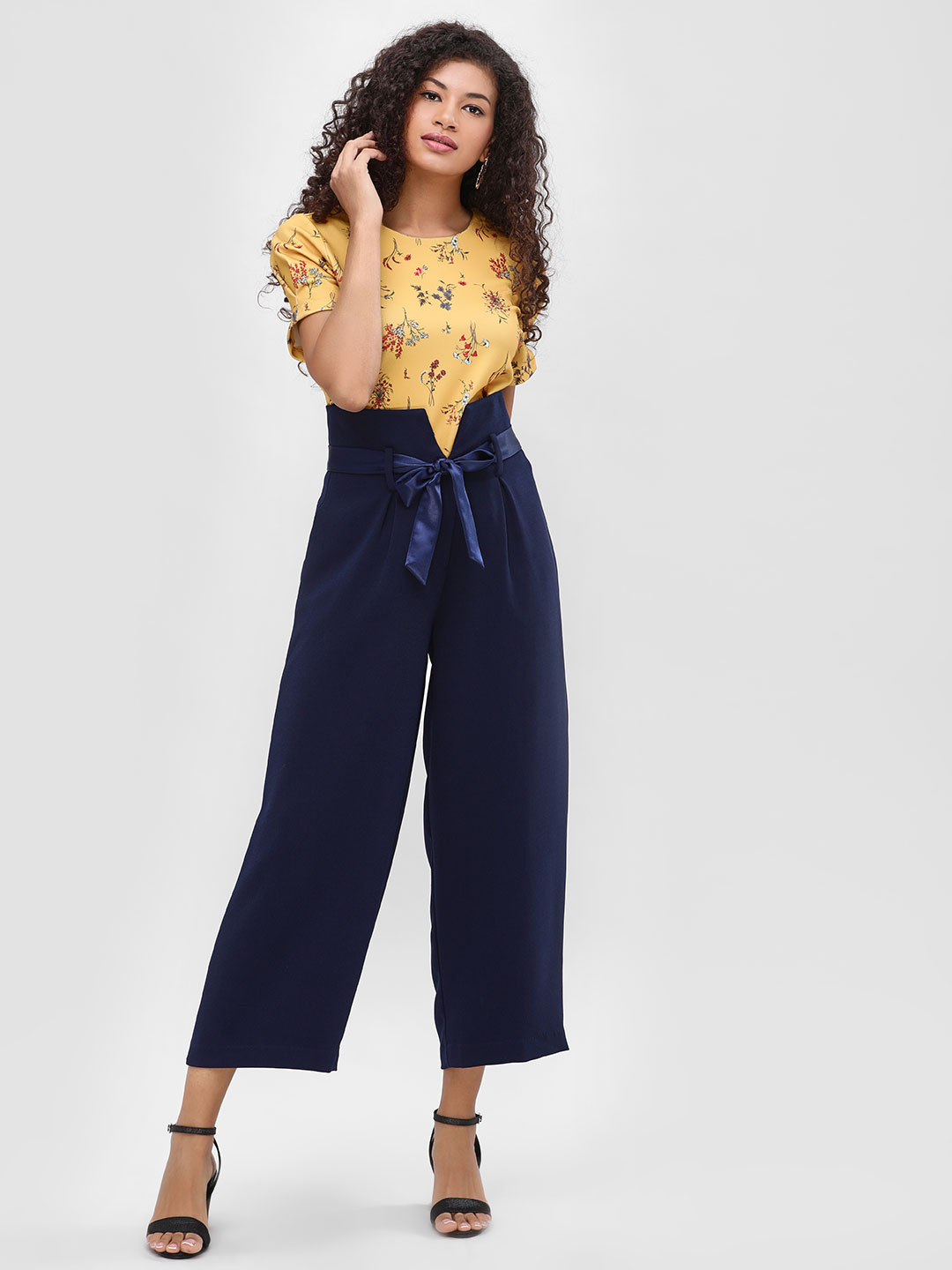 Cover Story Navy Extended Waist Belted Crop Trousers 1