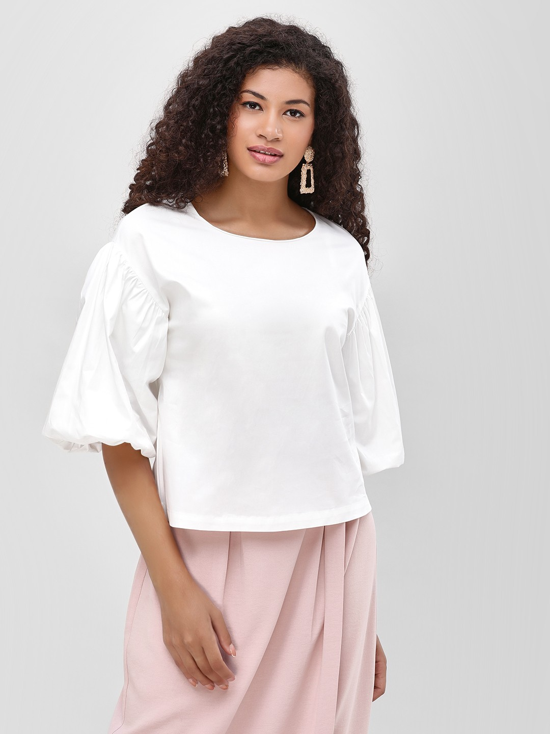 Cover Story White Balloon Sleeves Top 1
