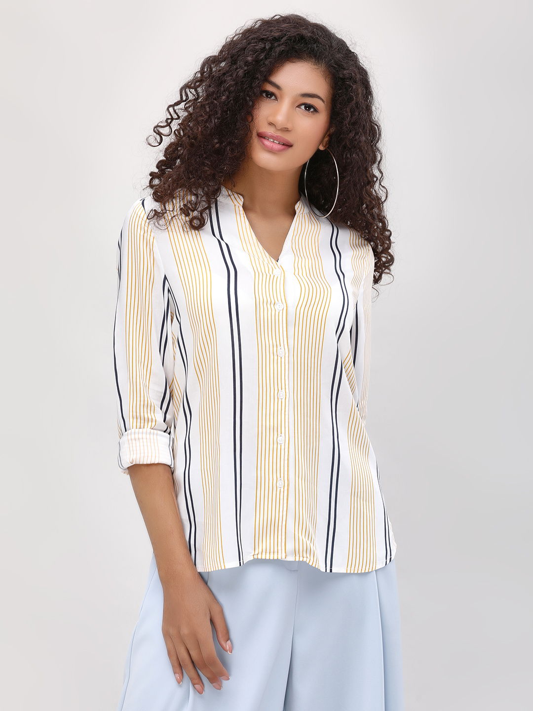 Cover Story Mustard Printed Striper Shirt 1