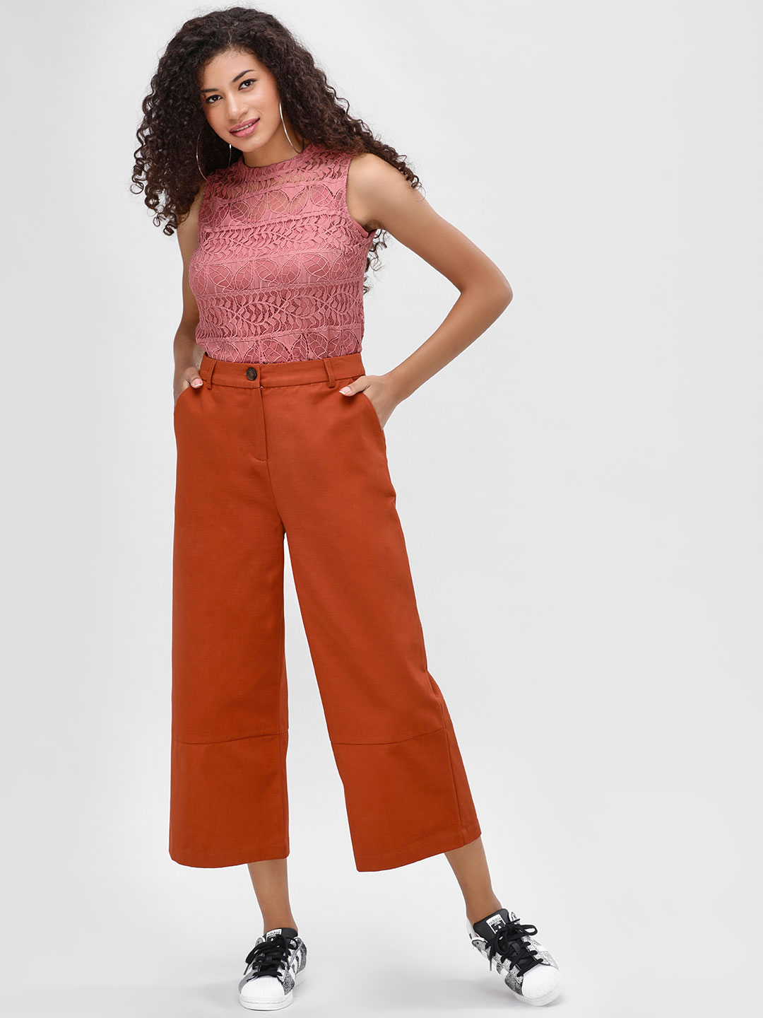 Cover Story Rust Basic Flared Trousers 1
