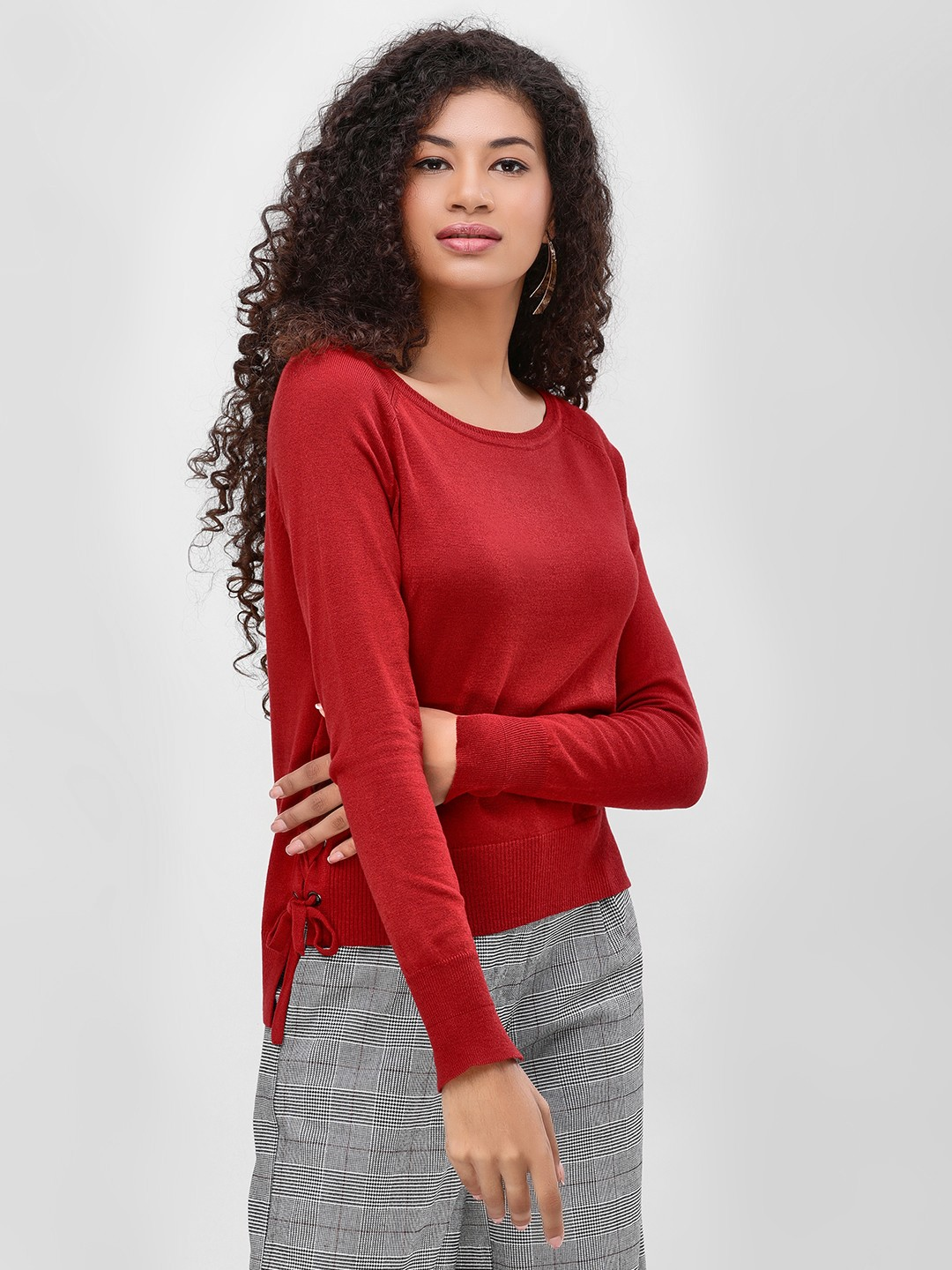 Cover Story Rust Side Lace-Up Pullover 1