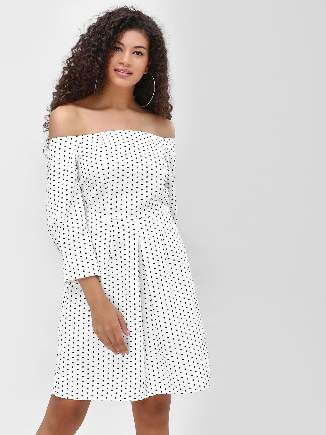 Cover Story White Polka Print Off Shoulder Dress 1