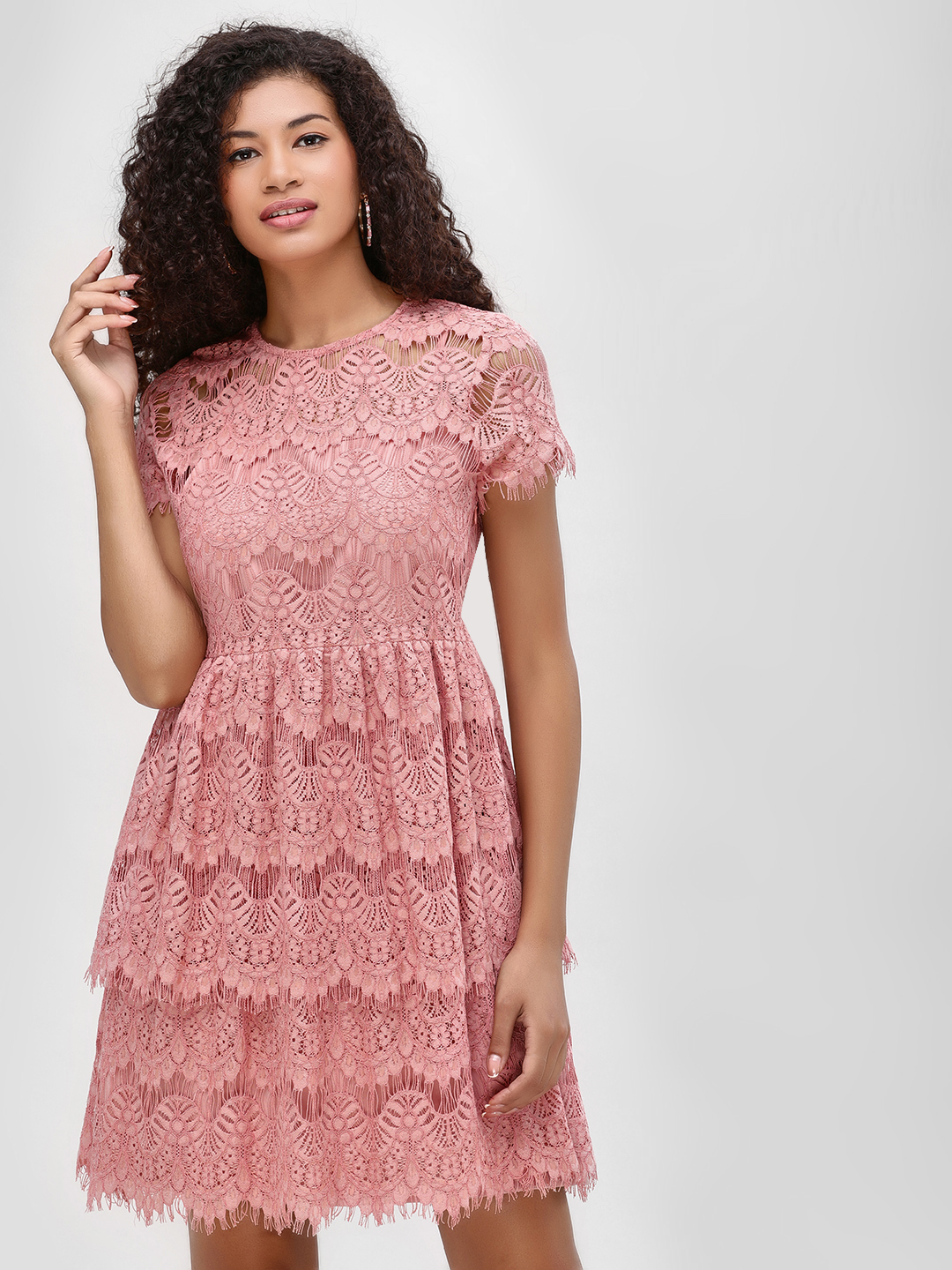 Cover Story Blush pink Tiered Lace Shift Dress 1