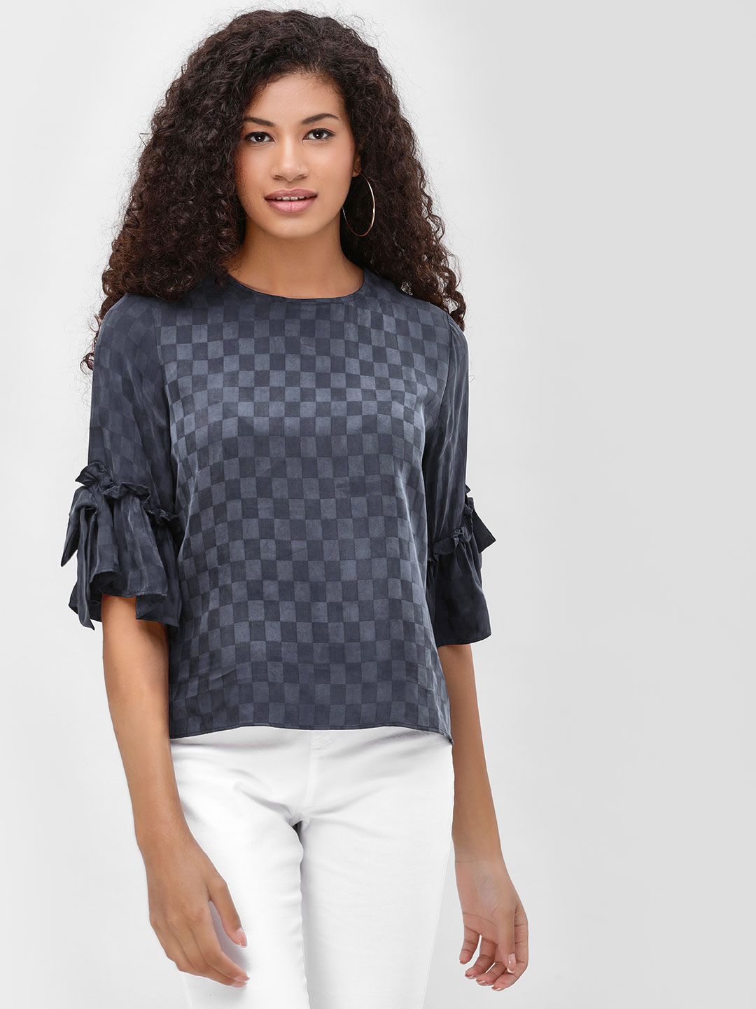 Cover Story Navy Textured Blouse With Sleeve Detail 1
