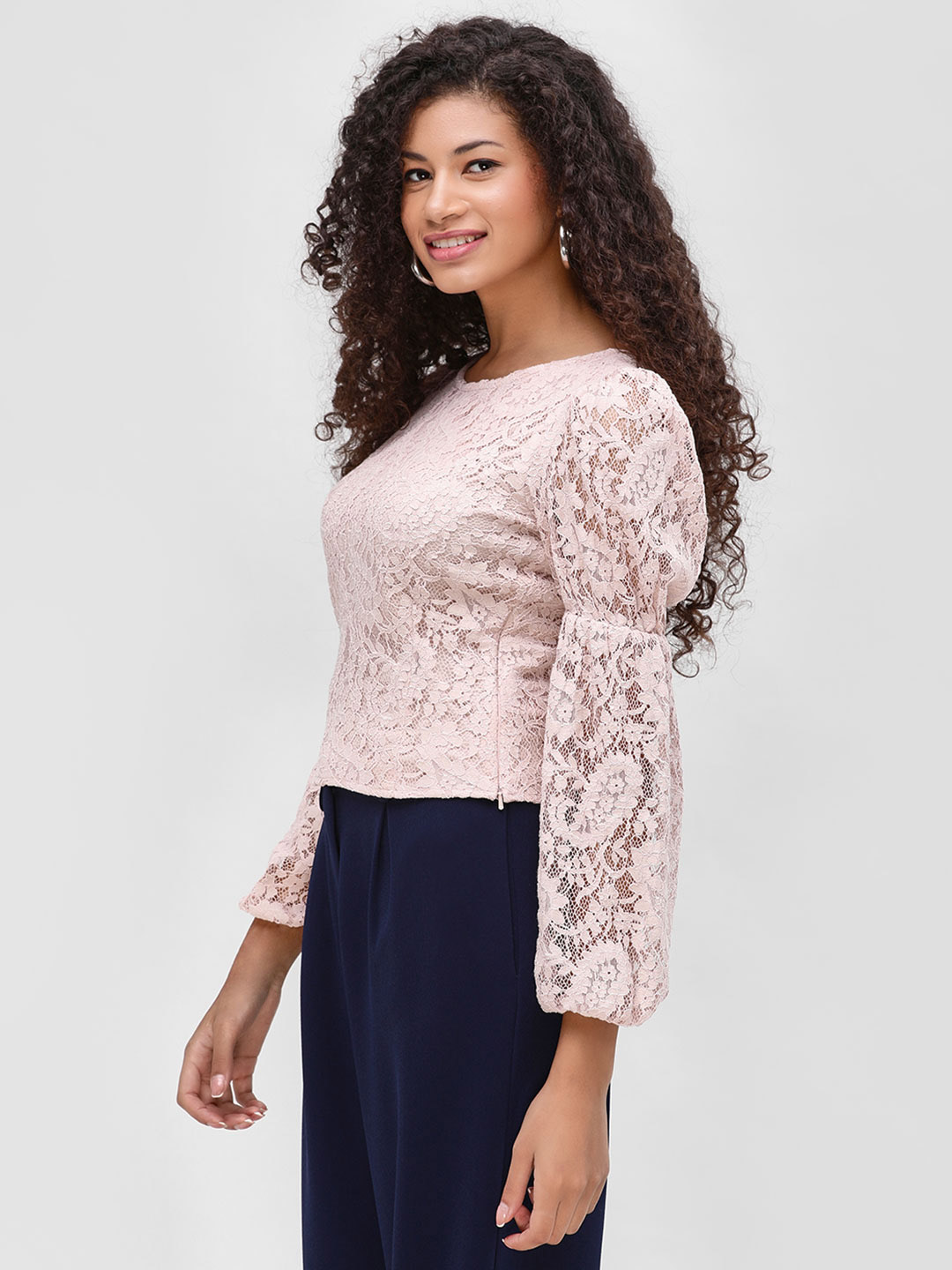 Cover Story Blush pink Long Sleeve Lace Top 1