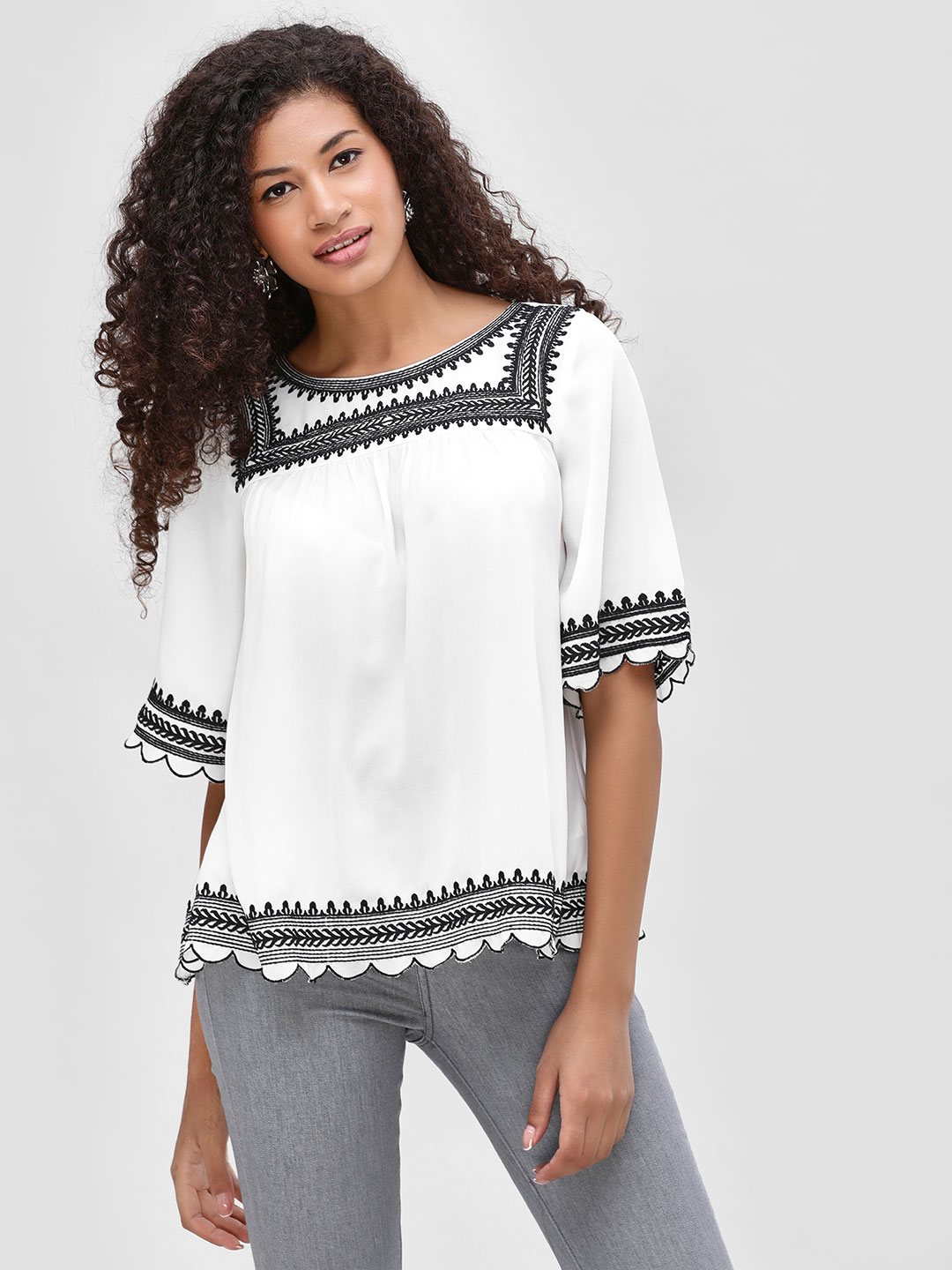 Cover Story White Lace Embroidered Detail Blouse 1