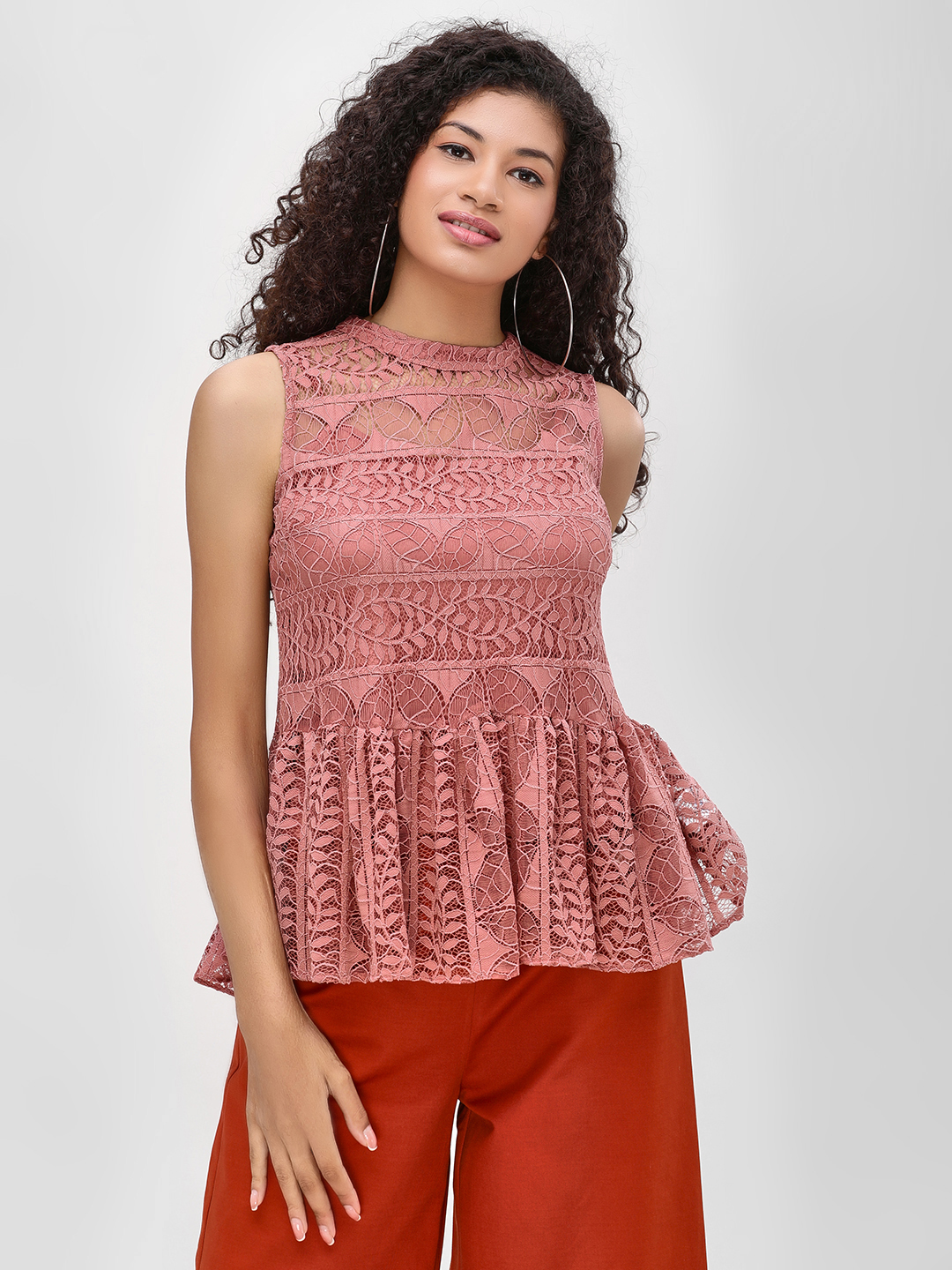 Cover Story Coral Sleeveless Lace Peplum Top 1