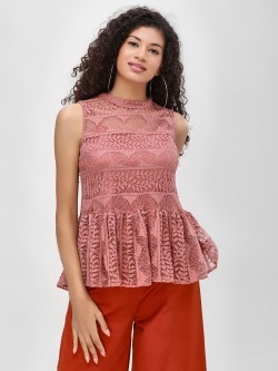 Cover Story Sleeveless Lace Peplum Top