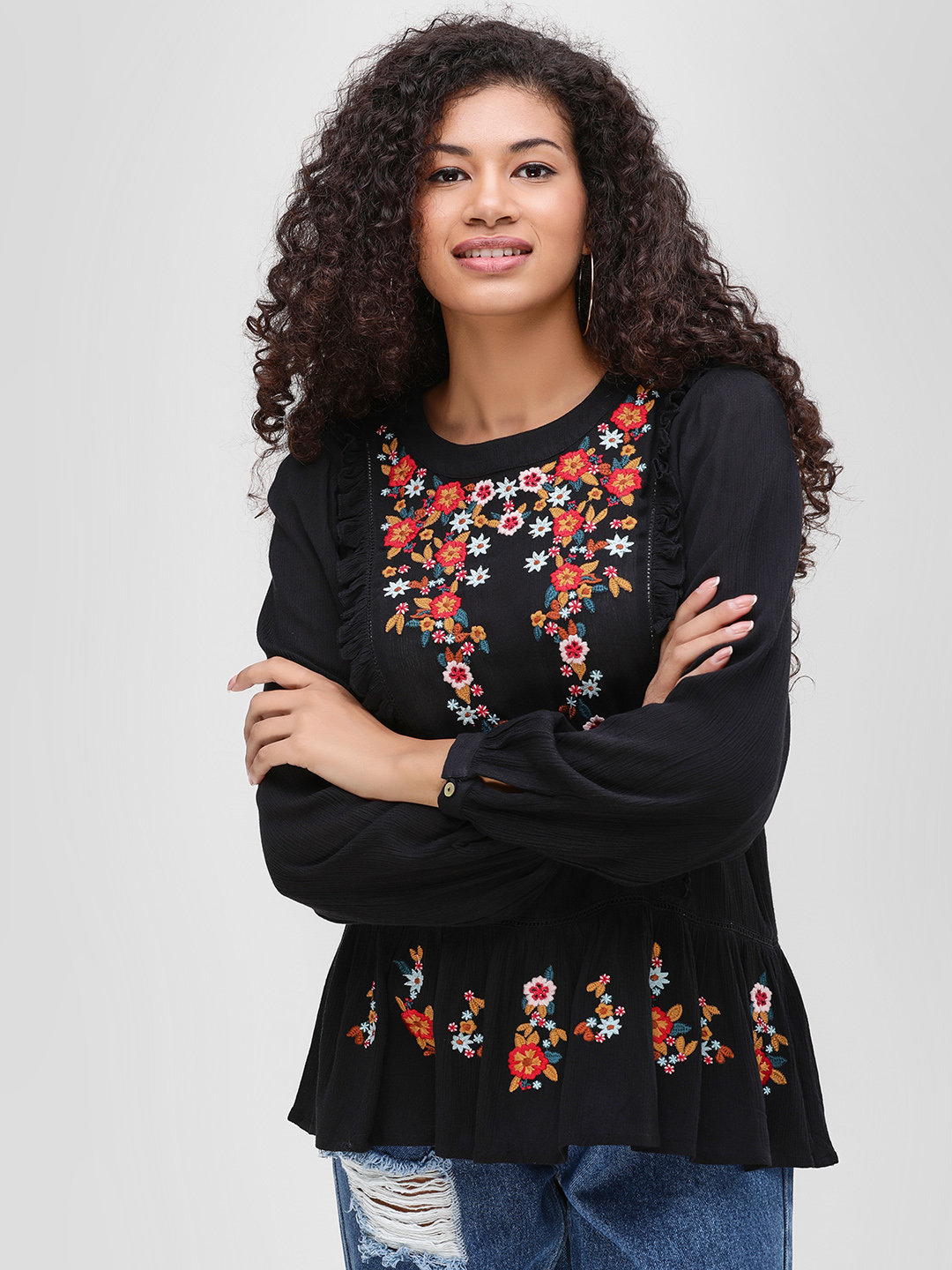 Cover Story Black Floral Embroidered Peplum Blouse 1