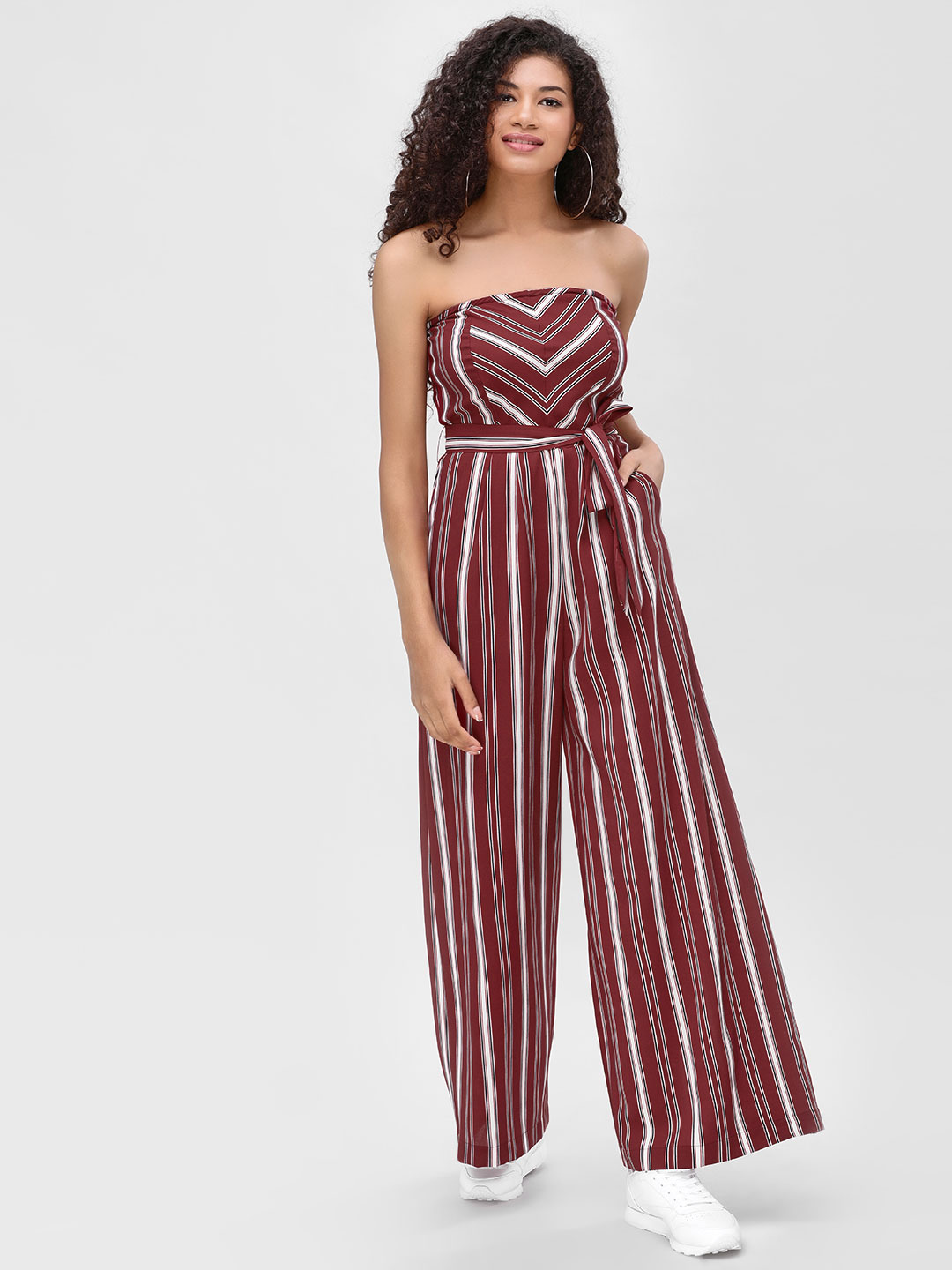 Cover Story Wine Contrast Striped Bandeau Jumpsuit 1