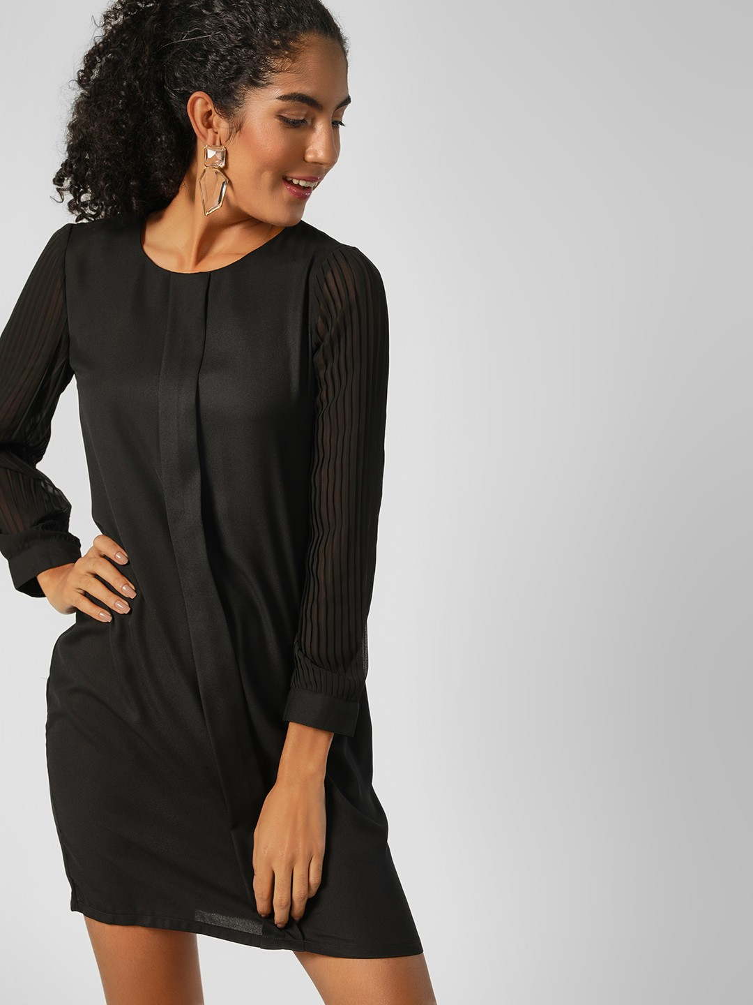 HEY Black Pleated Sleeve Shift Dress 1