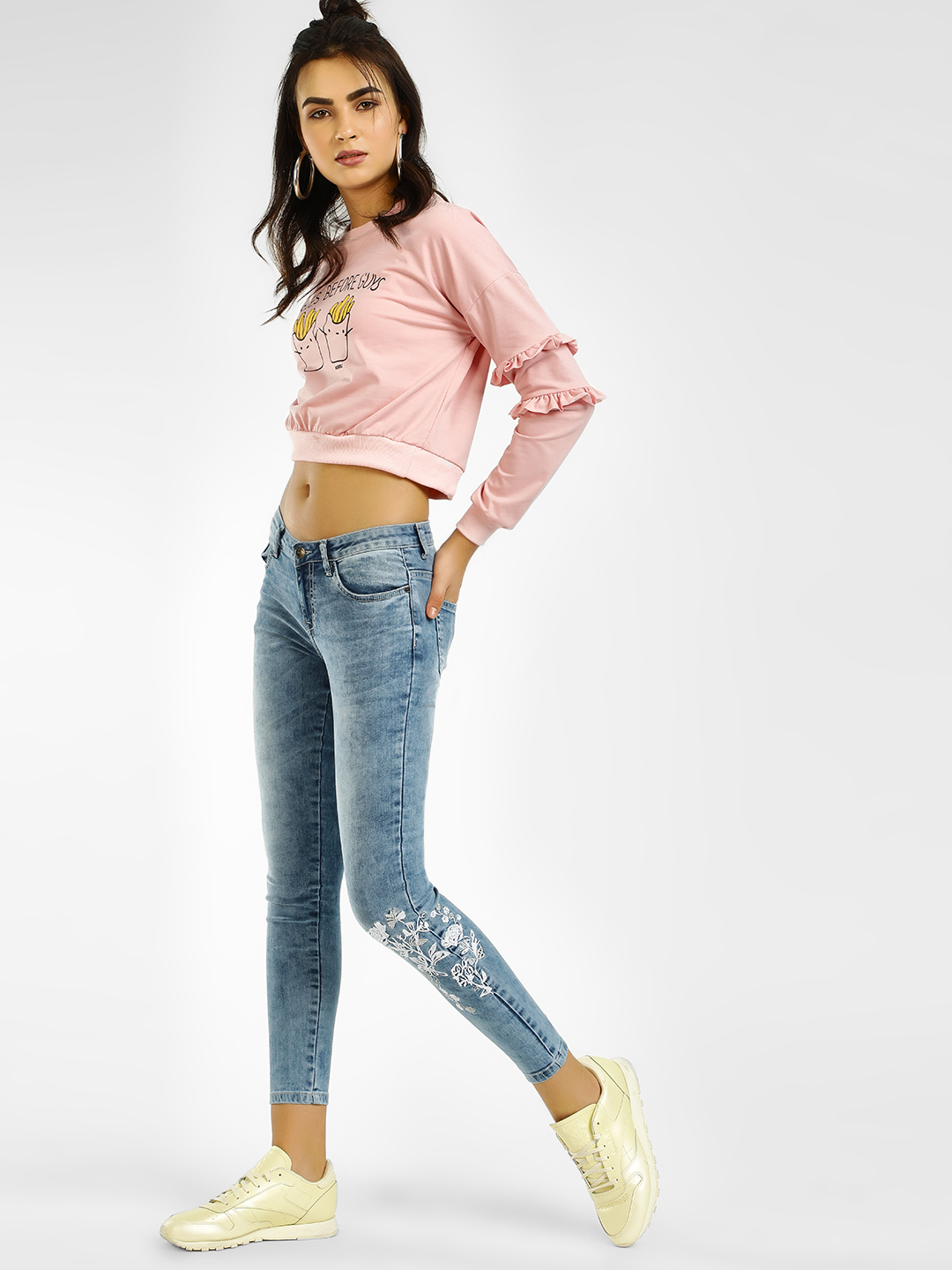 HEY ICE Floral Embroidered Washed Skinny Jeans 1