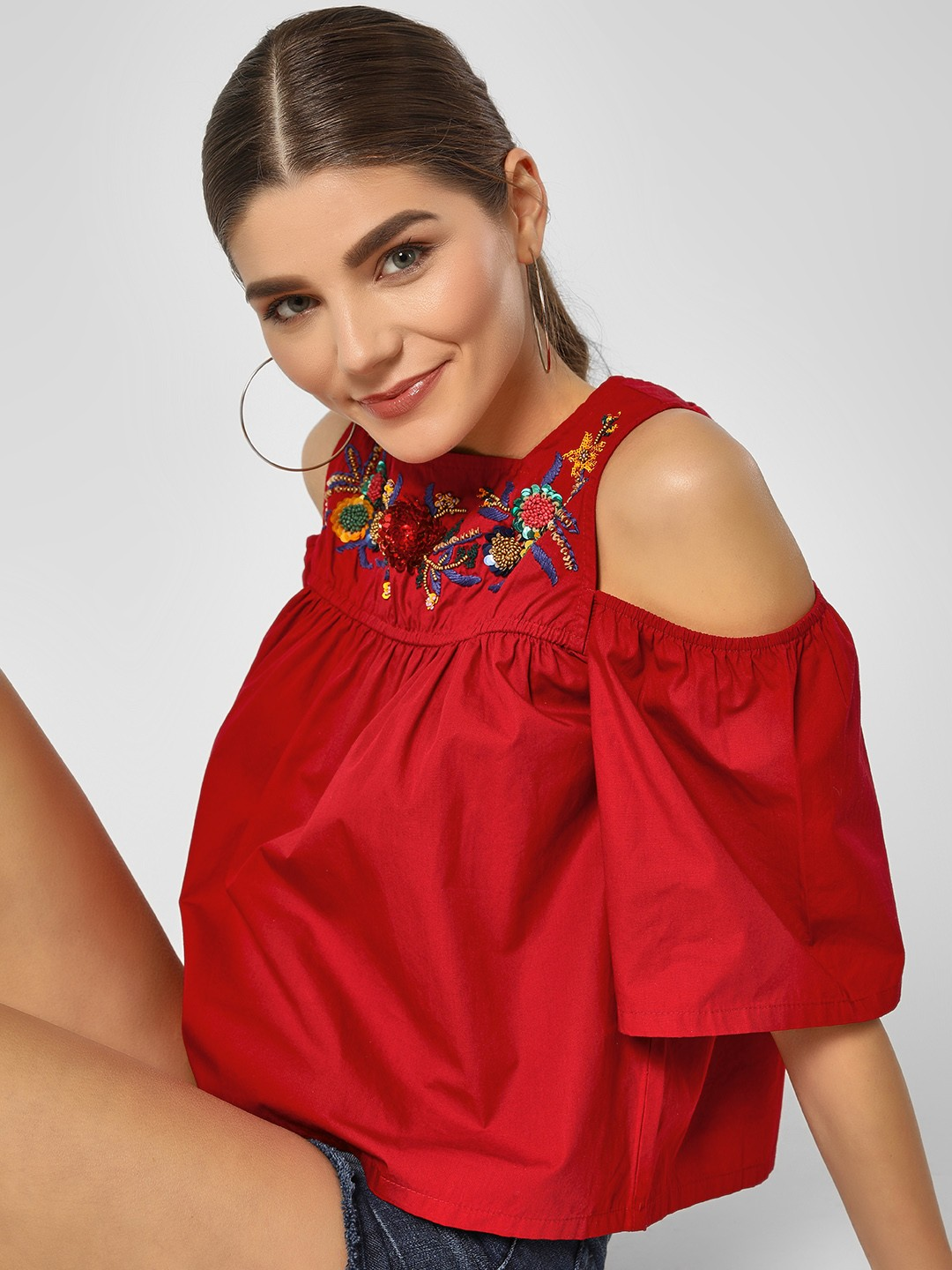 HEY Deep Red Cold Shoulder Floral Embroidered Top 1