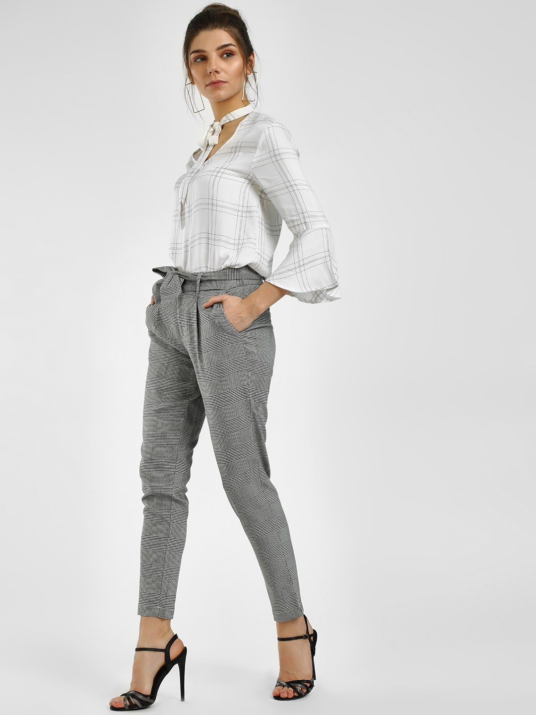 HEY Grey Multi-Check Bottom Tie-Up Trouser 1