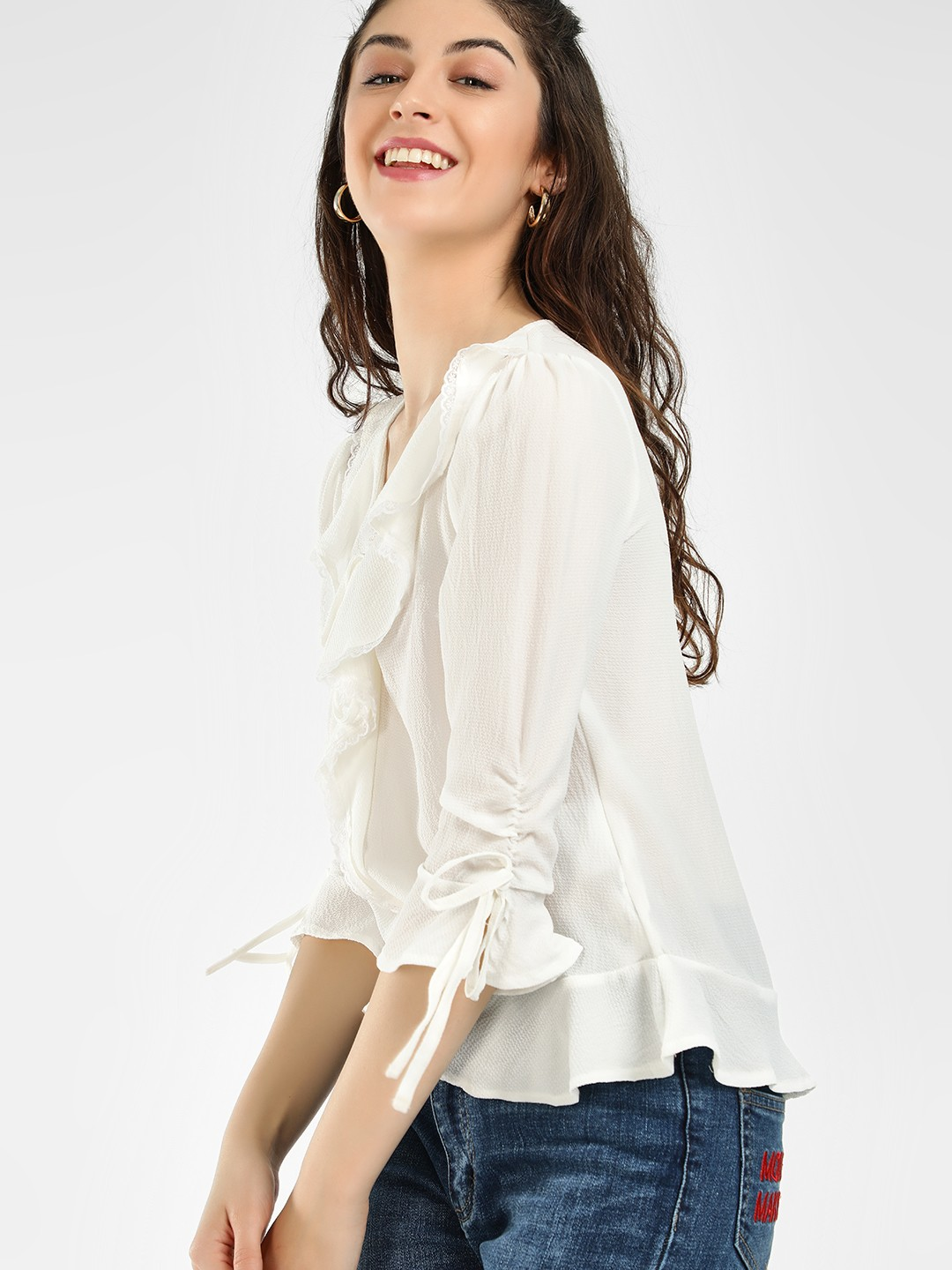 HEY Off White Front Tie-Up Ruffle Sleeve Blouse 1