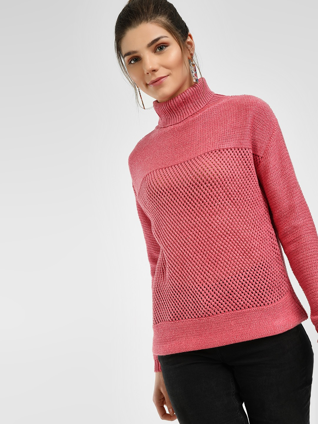 HEY Pink Turtle Neck Woven Pullover 1