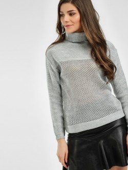 HEY Turtle Neck Woven Pullover