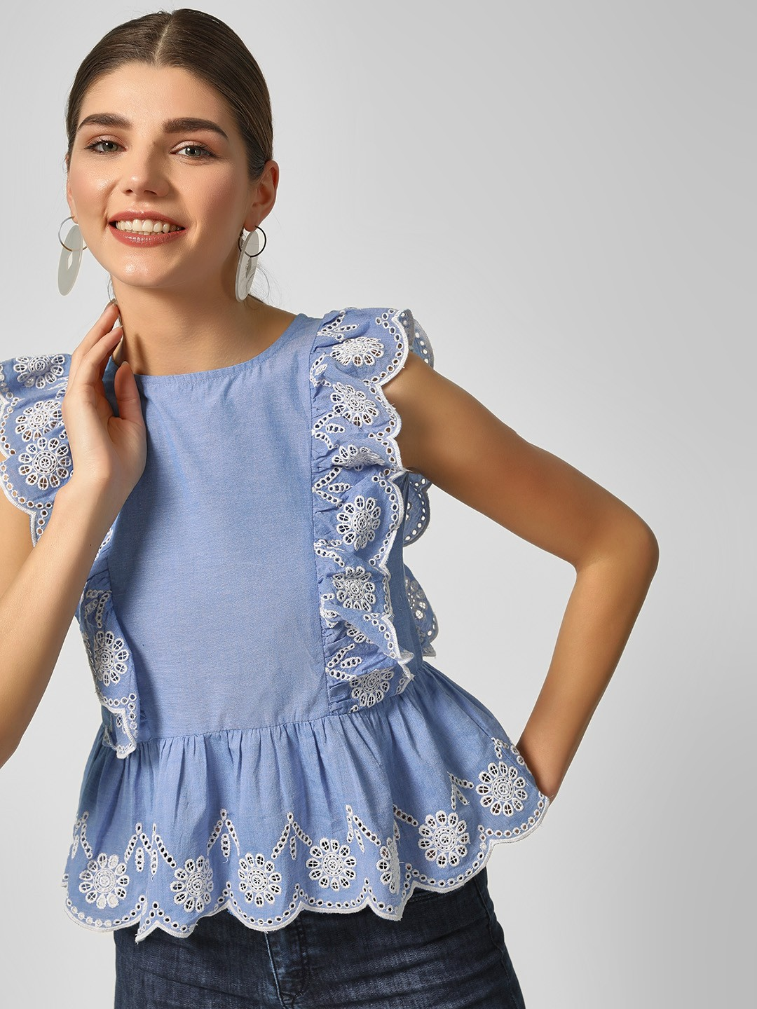 HEY Blue Embroidered Sleeveless Blouse 1