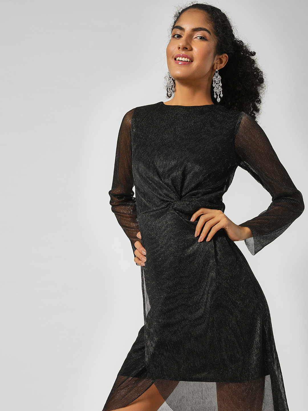 HEY Black Plisse Metallic Shift Dress 1