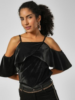 HEY Cold Shoulder Velvet Ruffled Top