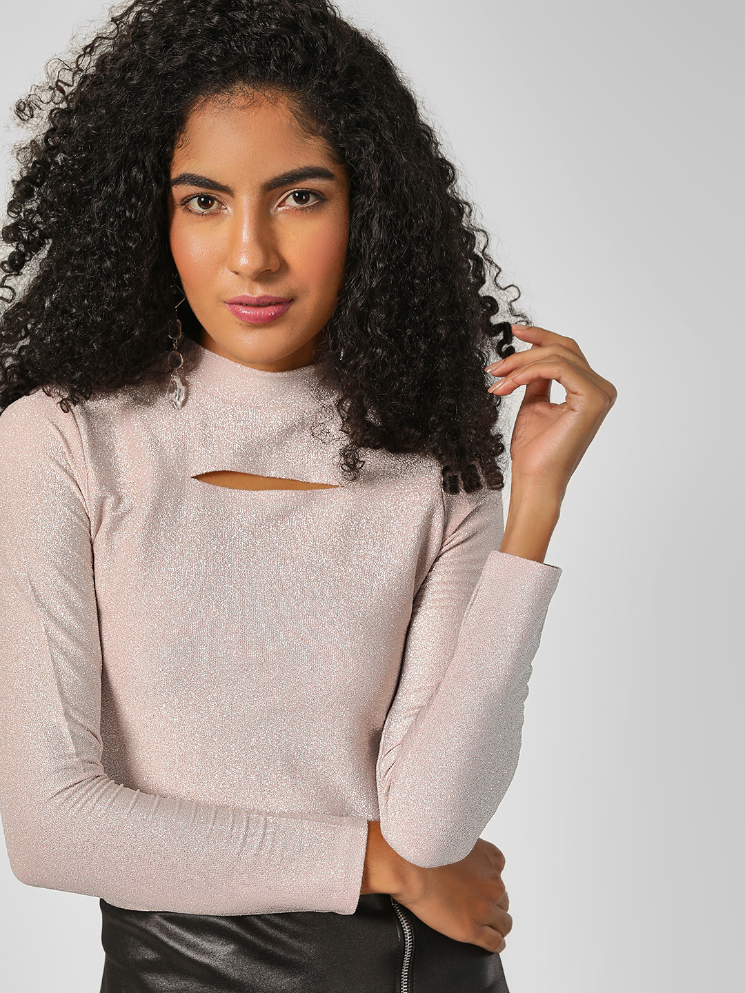 HEY Nude Cut-Out Detail Shimmer Top 1
