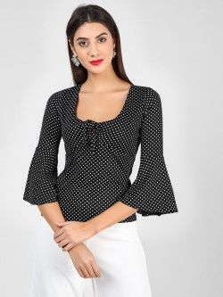 Brave Soul Polka Dot Tie Neck Top