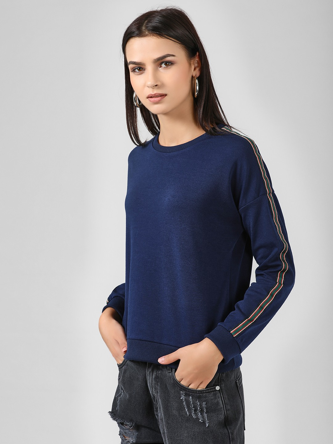Brave Soul Blue Stripe Tape Sweatshirt 1