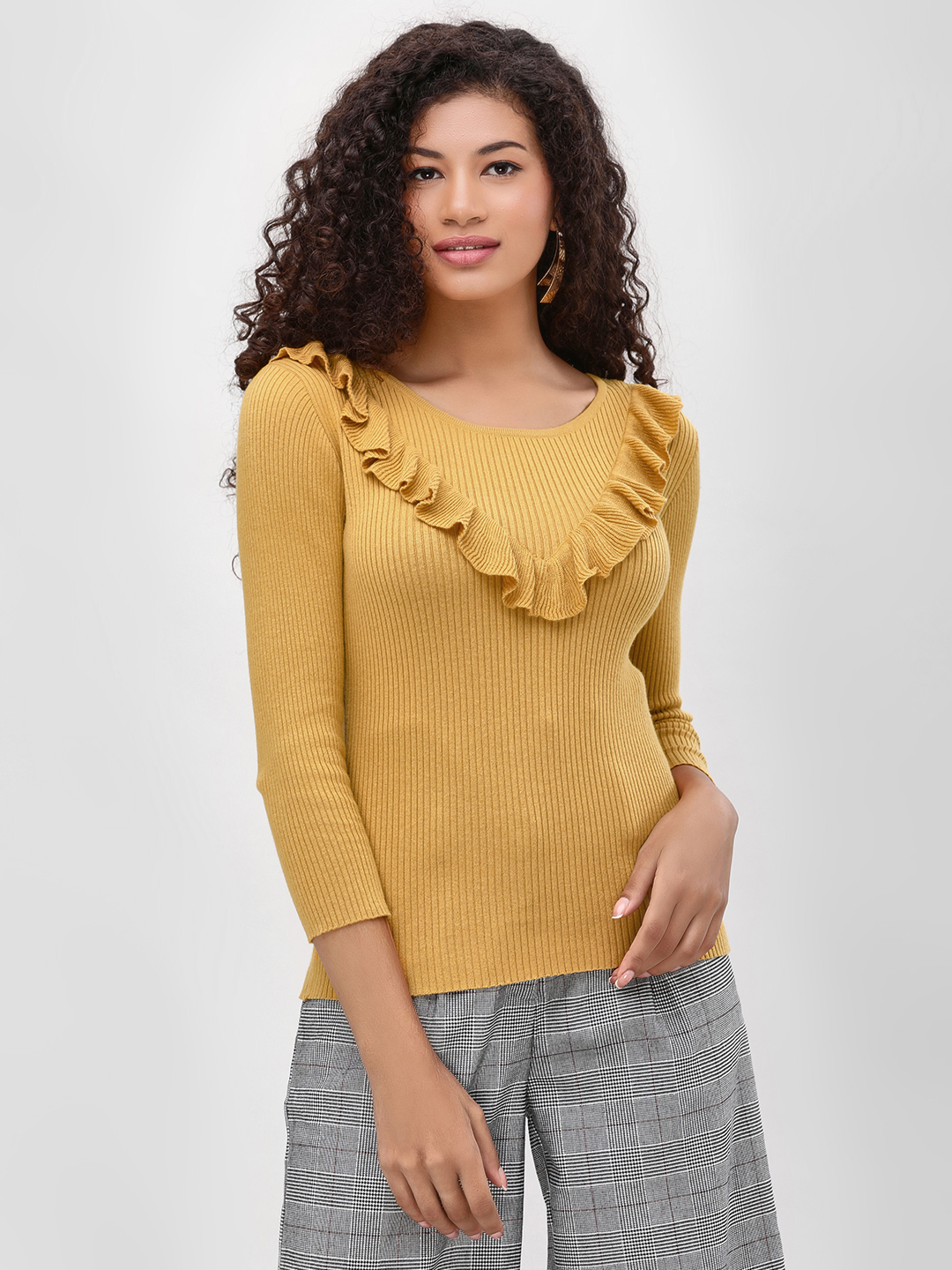 Cover Story Mustard Ribbed Top With Frill Detail 1