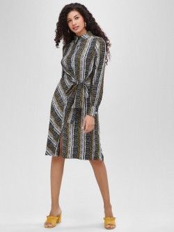 Cover Story Front-Knot Striped Shirt Dress