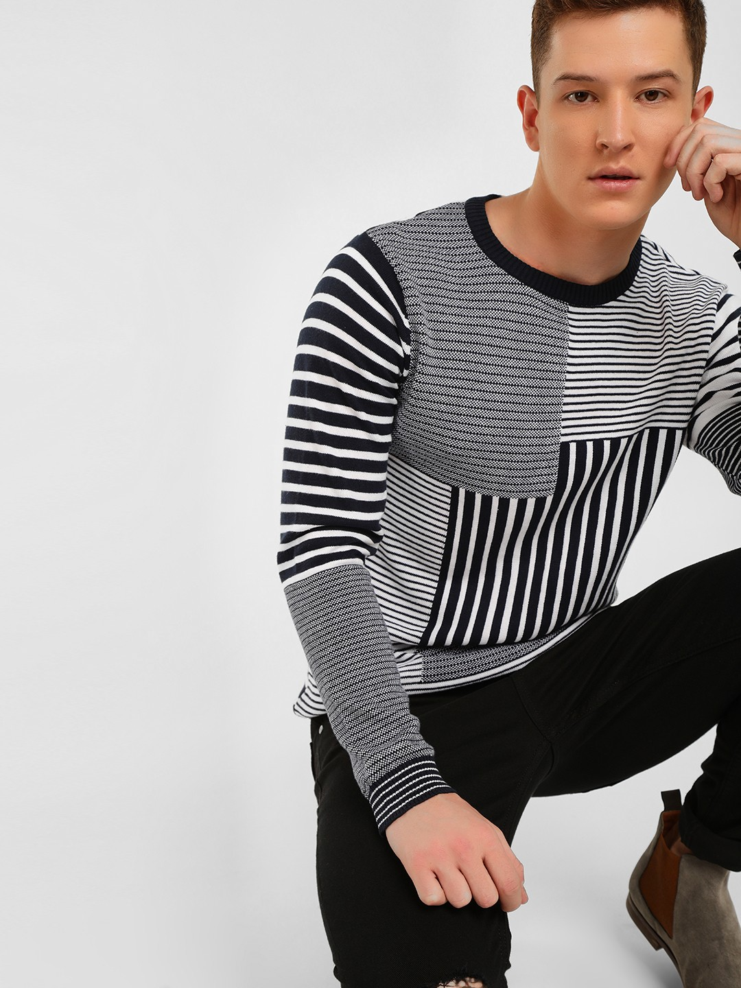 KOOVS Multi Patchwork Stripe Knitted Jacquard Sweater 1