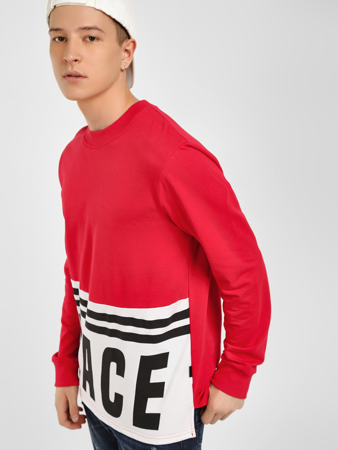 KOOVS Red Race Print Cut And Sew Sweatshirt 1
